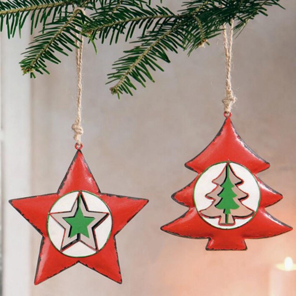 2pcs Xmas Tree Star Santa Claus Hanging Christmas Tree ...