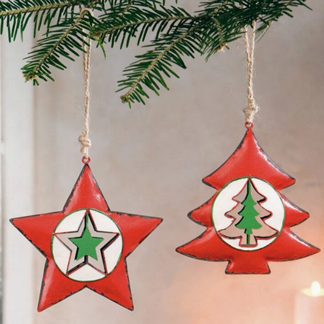 2pcs xmas tree star santa claus hanging christmas tree hanger embellishments craft ornament for diy christmas