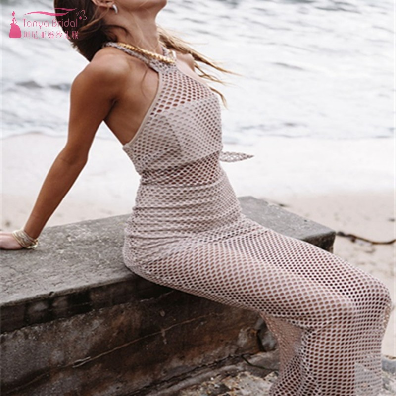 Sexy Style Illusion Beach   Cocktail     Dresses   Halter Simple Homecoming Party   Dress   Gown Hot Fashion Cheap DQG752