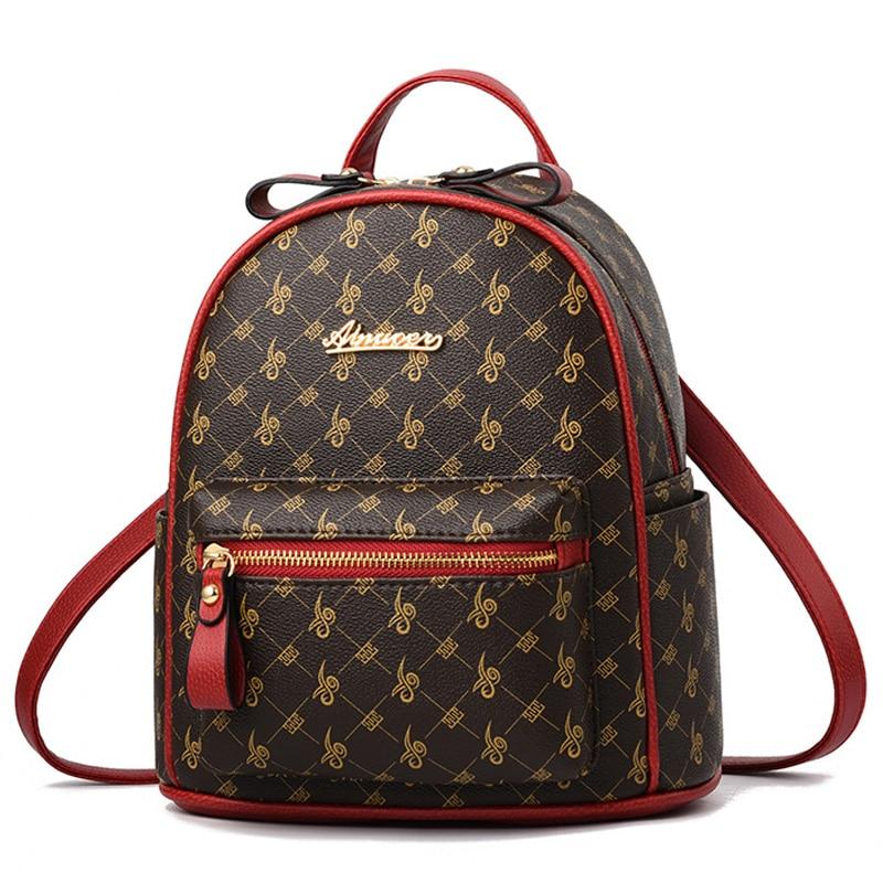 2019 New Women Leather Backpack Luxury Designer Mini Shoulder Bag Ladies Printing Backpacks For Girls School Bag High Quality