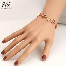 Одежда высшего качества H015 сердце из розового золота Цвет браслет jewelrygenuine австрийского Хрусталя Оптовая розовое золото цвет