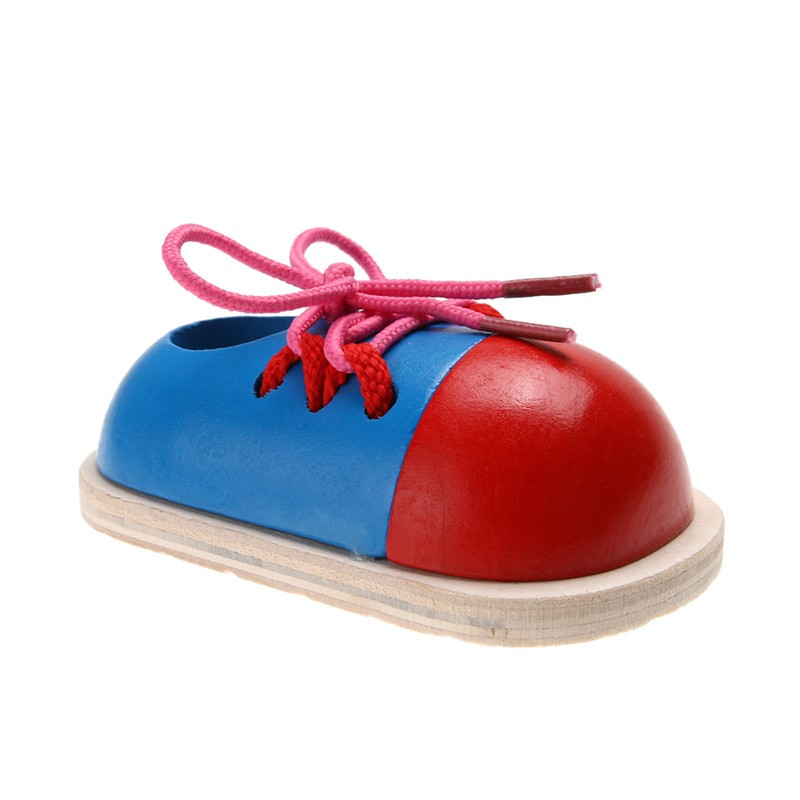 1pc Kids Montessori Educational Toys Children Wooden Toys Toddler Kids Lacing Shoes Early Learning Toy Montessori Teaching Aids 6