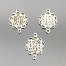 Hollow filigree Flower Connector Stainless Steel Connectors 10pcs Necklace Bracelet Earrings Diy Jewelry Making Findings
