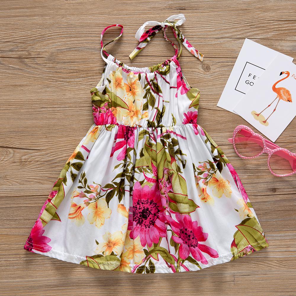 HTB1zQkqrv5TBuNjSspcq6znGFXaj - Baby Girl Clothes Lace Up Floral Printed Cotton Children Toddler Girls Dresses Summer 2018 Casual Princess Teenage Kids Dress