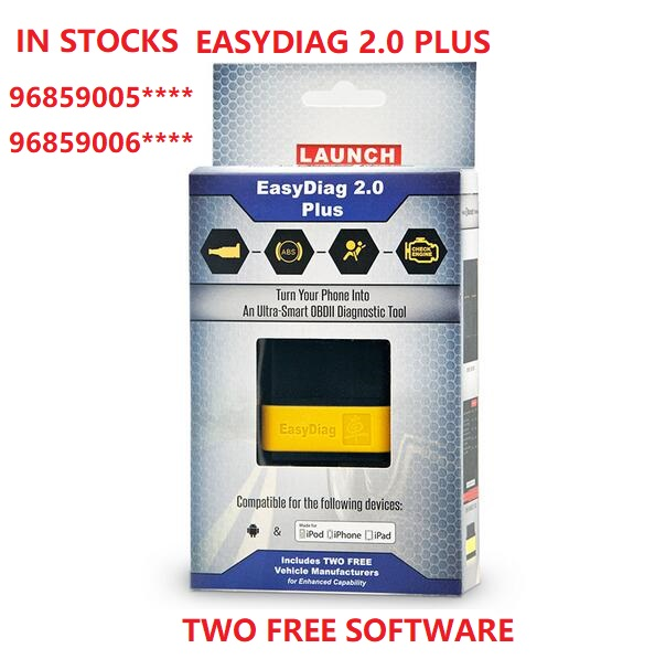 Launch Easydiag 2.0 Plus In Stocks Bluetooth EasyDiag Plus 3.0 iOS/Android with Two Free Car Models SN:96859005****/96859006****
