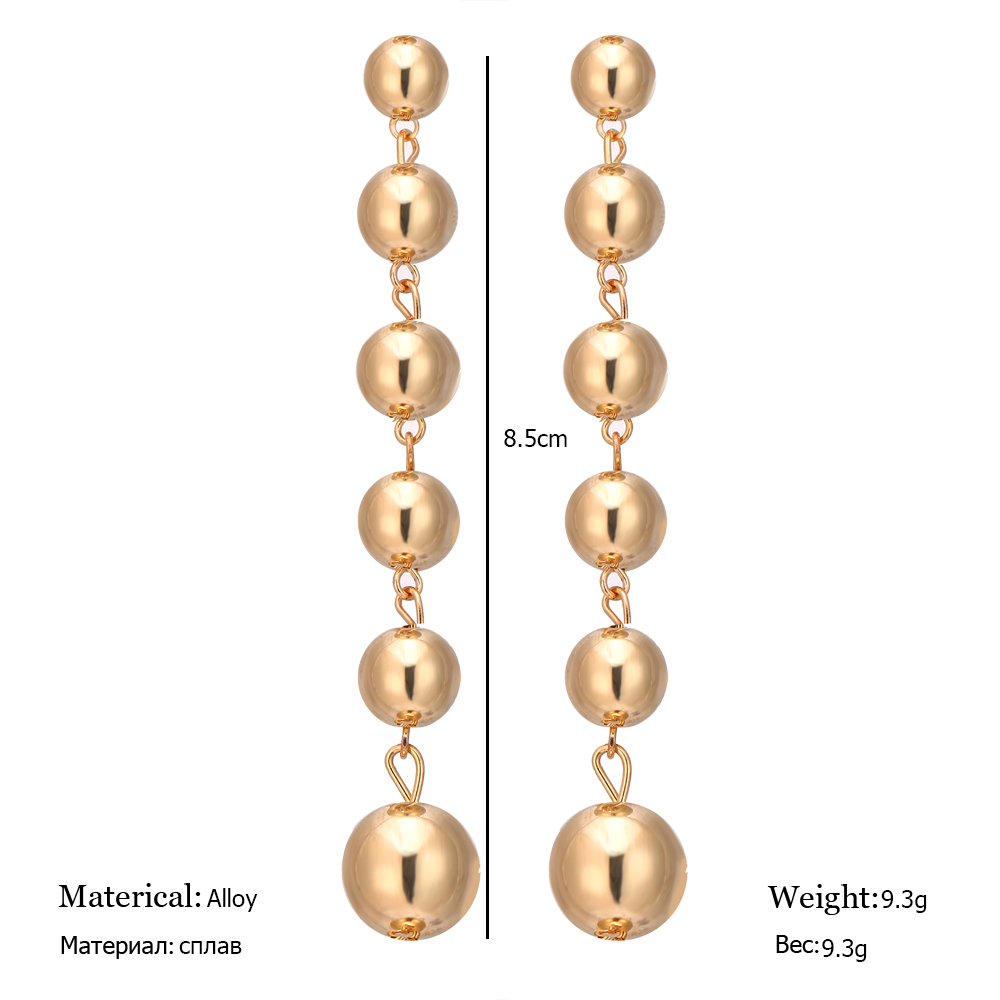 Sexy Oversize Large Round Ball Earring For Women Exaggeration Gold Sliver Colour Geometric Statement Big Long Dangle Earrings 4