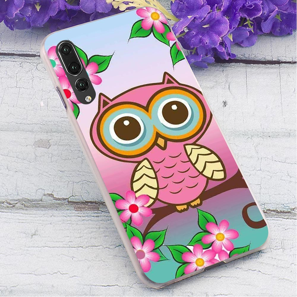 Owl Hard Cover for Huawei P20 Pro Colorful Phone Case for Huawei P Smart 2019 Mate 10 Lite Mate 20 Pro Back Cases in Fitted Cases from Cellphones Telecommunications