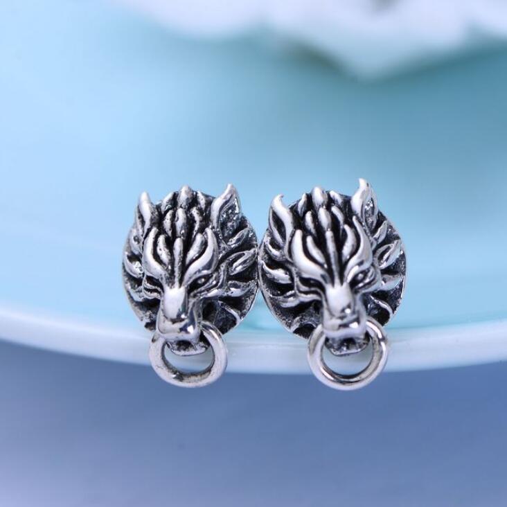 100% 925 Silver Wolf-head Earrings Real Sterling Silver Wolf Stud Earrings Hiphop PUNK Jewelry Man Earring