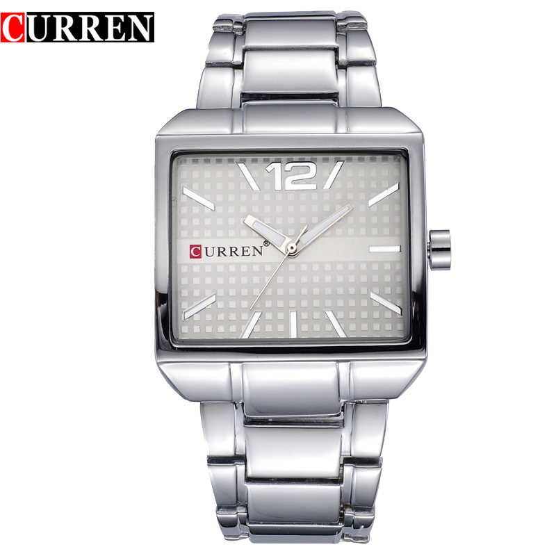 CURREN 8132 Men Watches Top Brand Luxury Stainless Steel Waterproof Analog Square Dial Quartz Watch Casual Mens Sport Wristwatch mens watches top brand luxury stainless steel analog display quartz watch men fashion casual wristwatches montre homme