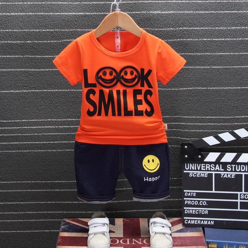 2019 Nieuwe Zomer Baby Jongens Kleding Baby Kinderen Kleding Cartoon Kids Katoen Smiley Gezicht T-shirt Shorts 2 Stks/set Mode Pakken