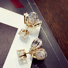 Luxury Double Sided Flower Stud Earrings Pendientes Women Fashion Elegant Zircon Gold Plated Wedding Earrings Brincos стоимость