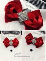 새로운 무료 배송 패션 남성 남성 여성 붉은 꽃 벨벳 칼라 나비 넥타이 신랑 웨딩 emcee 레이디 머리 장식 빛나는 다이아몬