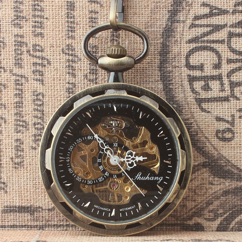 лучшая цена Steampunk Classic Bronze Skeleton Mechanical Pocket Watch White Roman Dial No Cover Pocket Watches Gift wholesale