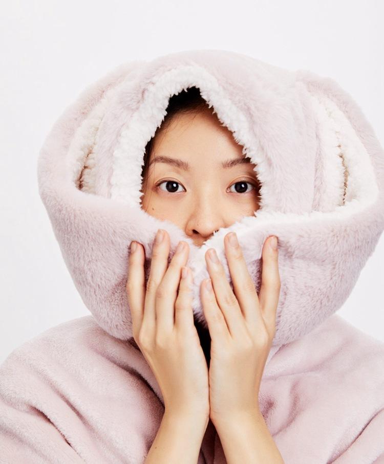 Cute Pink Comfy Blanket Sweatshirt Winter Warm Adults and Children Rabbit Ear Hooded Fleece Blanket Sleepwear Huge Bed Blankets 6
