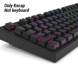 Image 2 - Black White Miami PBT  Double Shot 104 108 Side lit Shine Through Translucent Backlit keycaps For MX Mechanical Keyboard
