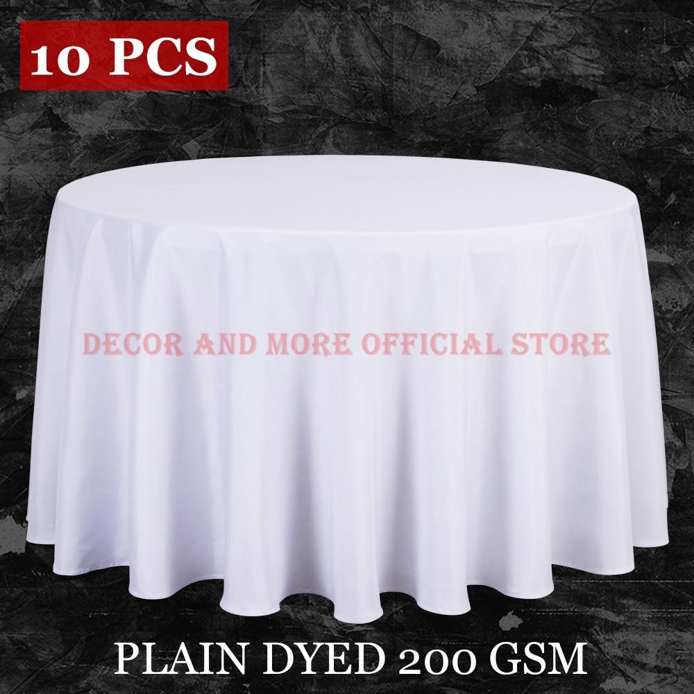 10PCS / LOT Veleprodaja poliester Okrugli stolnjak za vjenčanje Hotelski dekor Bijela stolnjak Tkanje stol posteljina blagovaona stol poklopac