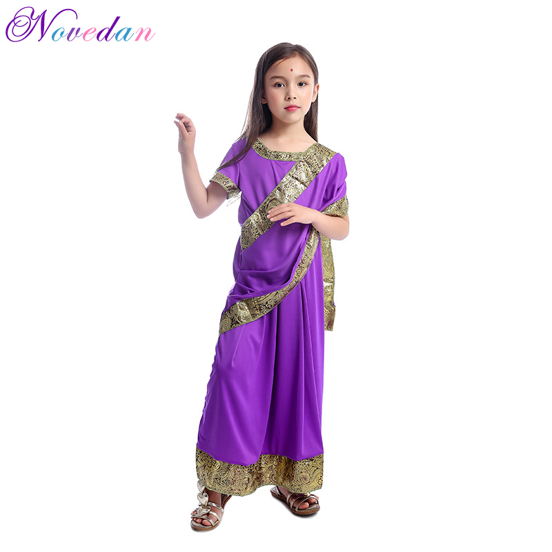 <font><b>Indian</b></font> <font><b>Sari</b></font> Girls Dresses Cosplay Costume <font><b>Kids</b></font> Child Saree <font><b>Indian</b></font> Bollywood Princess Masquerade Halloween Party Cosplay Clothing image