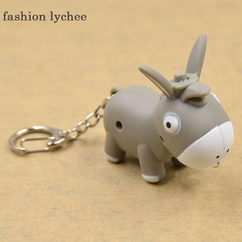 fashion lychee Cute Cartoon 3D LED <font><b>Light</b></font> Donkey Keychain Keyring <font><b>With</b></font> <font><b>Sound</b></font> Animal <font><b>Key</b></font> <font><b>Chain</b></font> <font><b>Pendant</b></font> Children Figure Toy Gift