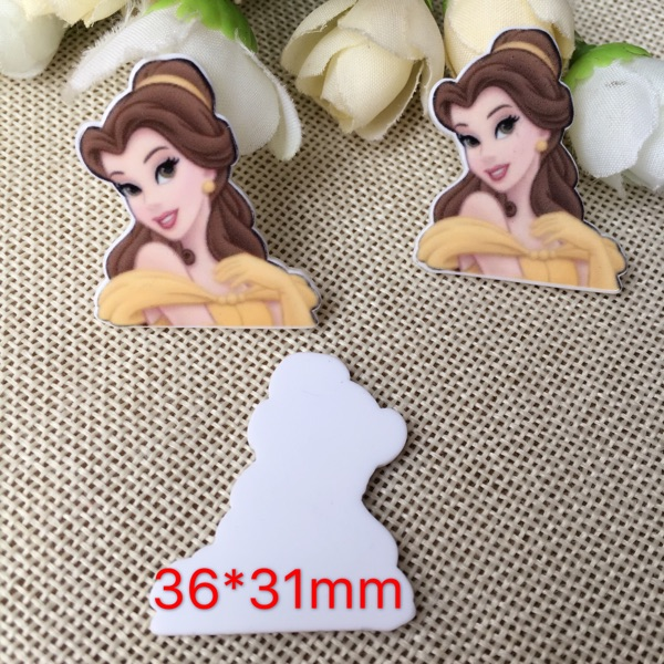 10pcs/lot Beauty and the Beast kawaii princess belle Figurine home decoration craft flat back planar resin DIY hair Bow accessor
