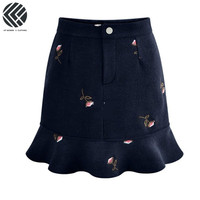 LFF New Chic Women Plus Size Loose Floral Flower Embroidery Spring And Fall 100KG Fit A line Fishtail Korea Style Fashion Skirts