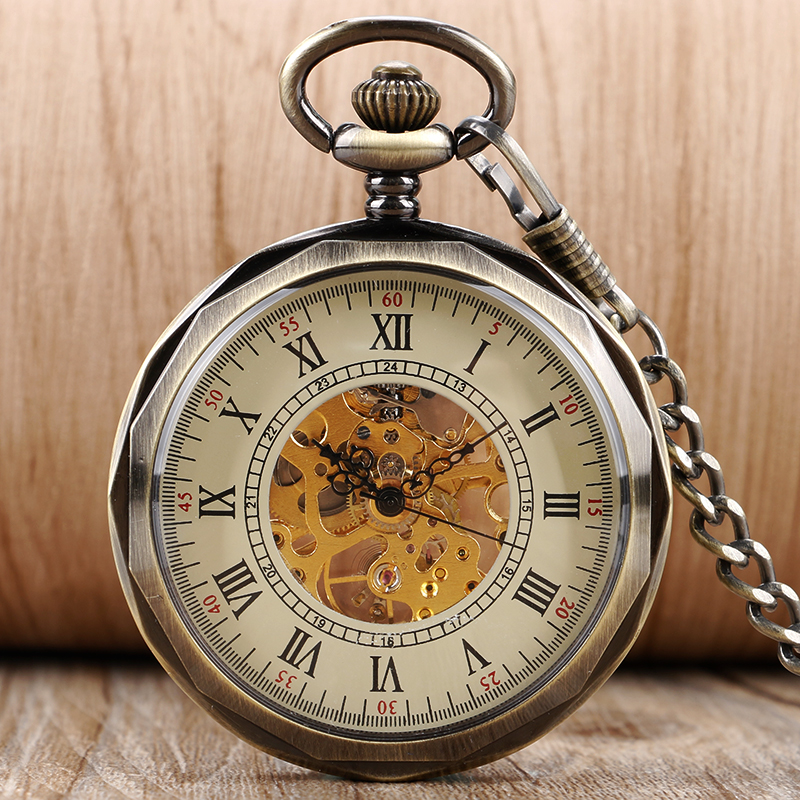 Vintage Open Face Roman Numberal Hand Winding Skeleton Mechanical Pocket Watch Pendant Fob Chain Steampunk Watches For Men Women