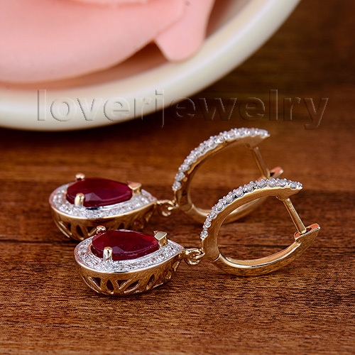 100% Natural Diamond Earrings,Fashion Jewelry 14Kt Yellow Gold Ruby Engagement Earrings For Women E0002J 3