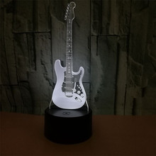 Electric guitar 3d night light 7 colors gradual change led touch vision lamp music Instrument table lamp usb rechargeable