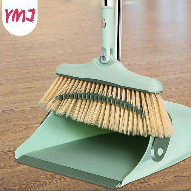 Soft Hair Broom Garbage Shovel Combination 1 Set Broom Dustpan Thicken Foldable Rotating Floor Cleaning Tools Cute Clean Sweeper