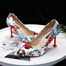 Cresfimix femmes hauts talons women fashion floral printed office high heel
