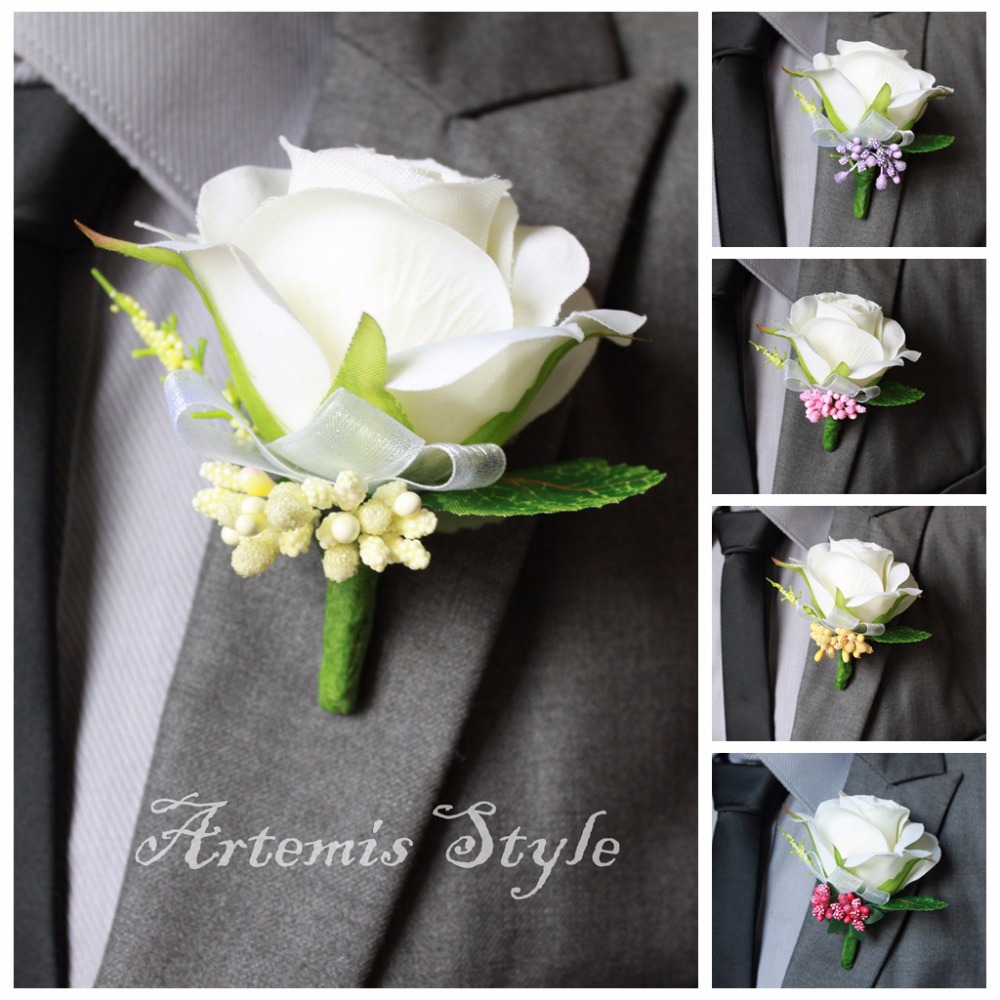 Ivory Rose Boutonniere Wedding Decoration Buttonhole Artificial