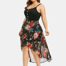 2019 Plus Size Floral Bohemian Dress Asymmetrical Spaghetti Strap Maxi Dress Chiffon Strapless Dress