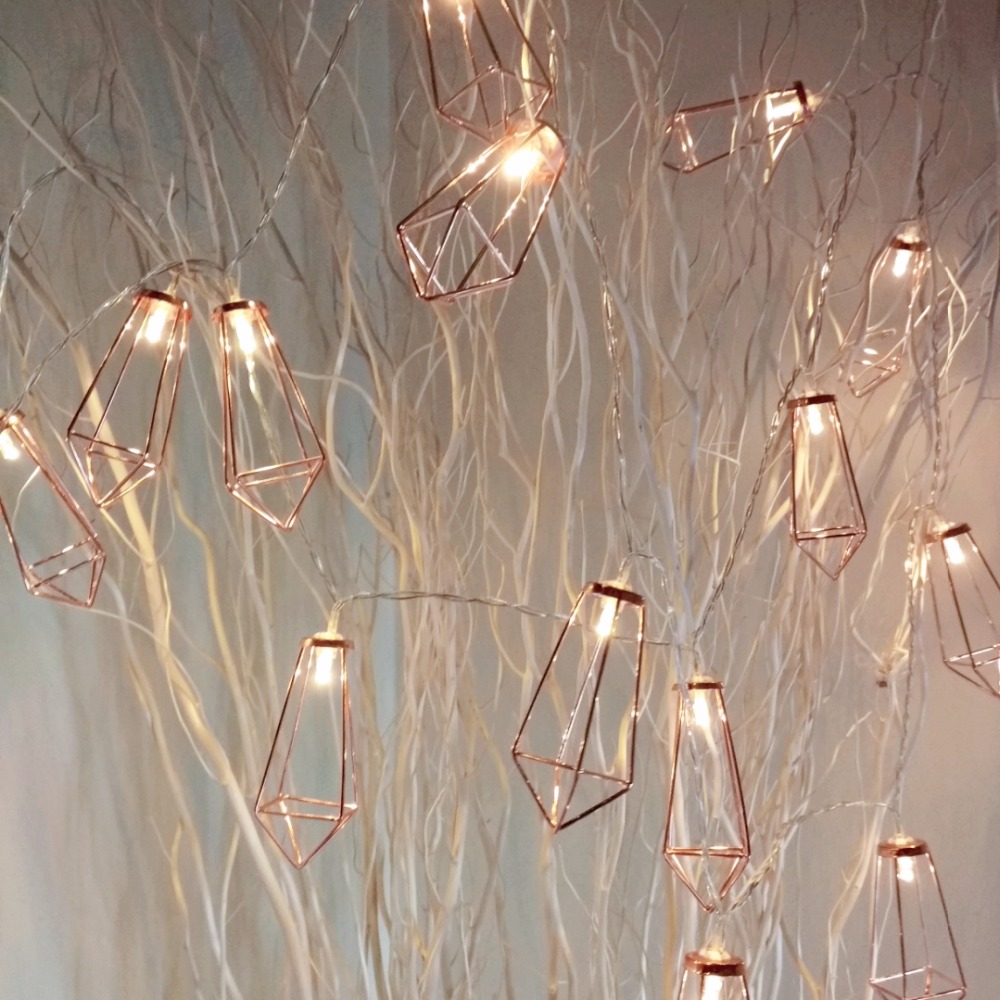 3M-20leds Rose Golden Diamond shape Battery powered Flashing String Lights, Festival Decor Lights, Christmas party light Pakistan