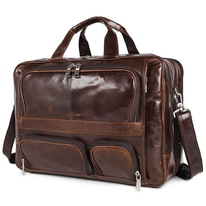 Nesitu винтажный большой кофейный Черный Коричневый мужской портфель из натуральной кожи Офисные Сумки 17 портфель для ноутбука # M7289 - 6