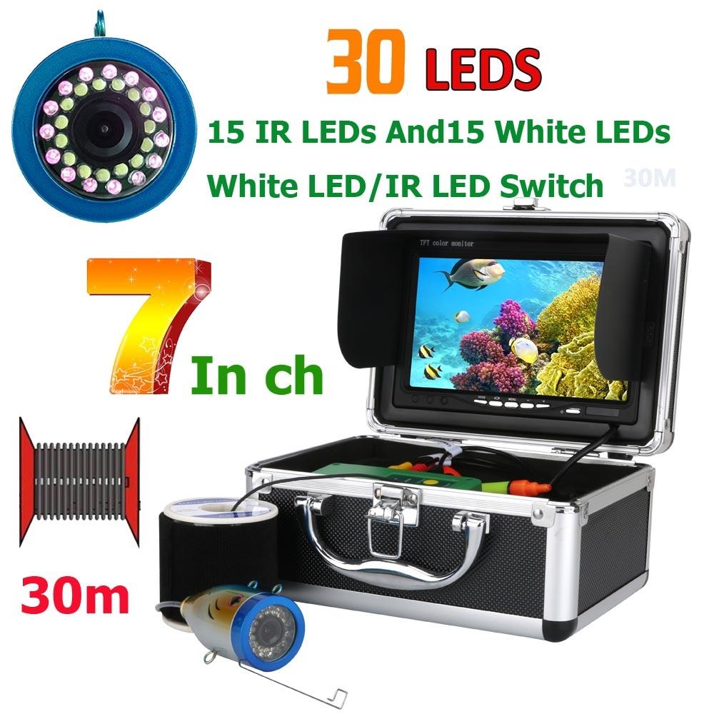GAMWATER 7 pulgadas 15 M 30 M 50 m 1000TVL buscador de peces Cámara subacuática de pesca 15 PCs LED unids blancos + unids 15 PCs lámpara infrarroja para hielo/Mar