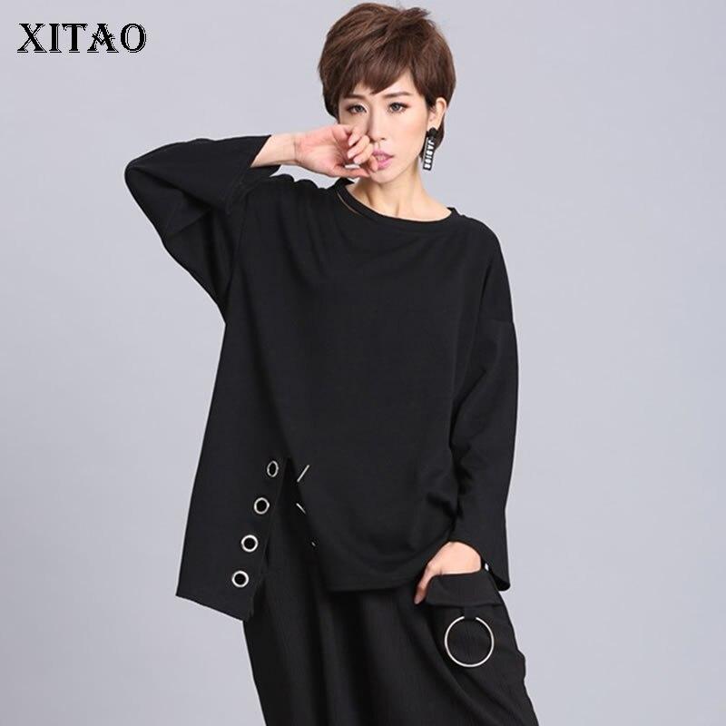 XITAO Ring Split Black Plus Size T Shirt Women Hem Irregular Hollow Out Stitch O Neck Womens Clothing Tide 2019 New LJT1198