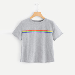 rainbow shirt Tshirt Women Casual T-Shirt O-Neck Fashion Rainbow Striped Short Sleeve Streetwear Ropa Mujer Verano 2019 1