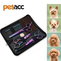 Petacc 7 بوصة مستقيم منحني مقص ترقق المقصات الحادة pet الكلب الاستمالة مقص مجموعة الحيوانات الشعر أدوات القطع أطقم