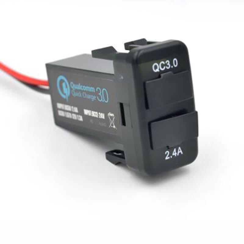 ihens5 car Interface USB Charger Dual usb port with QC 3.0 fast charge for TOYOTA VIGO FJ Corolla Camry Auris Levin RAV4