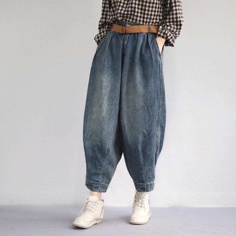 2019 Fashion Women Pockets Wide Leg   Pants   Casual Belt Loose   Pants   Solid Blue Button Denim   Pants