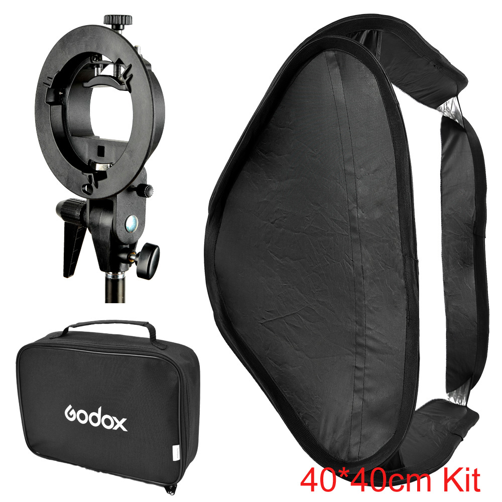 Godox 40*40cm / 15 * 15 Softbox Diffuser with S-type Bracket Bowens Holder for Speedlite Flash Light 40cm*40cm image