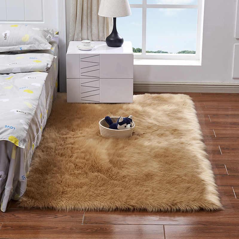 Чехол для стула из овчины, теплый ворсистый ковер, подушка для сиденья, длинная кожа, мех, простые пушистые Коврики для спальни, моющиеся, квадратные цвета