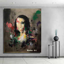 hand painted Mona Lisa oil painting on Canvas Wall Art Abstract Portrait Oil Painting for Living Room office hotel wall decora