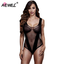 49c5aaf005 ADEWEL 2018 Sexy Black Sleeveless Woman Fishnet Patchwork V See Through  Lace Bodysuit