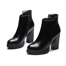New 2017 Sexy Women Boots Fashion Platform Square High Heels Black Ankle Boots Woman Brand Design Ladies Leather Shoes CH-B0011