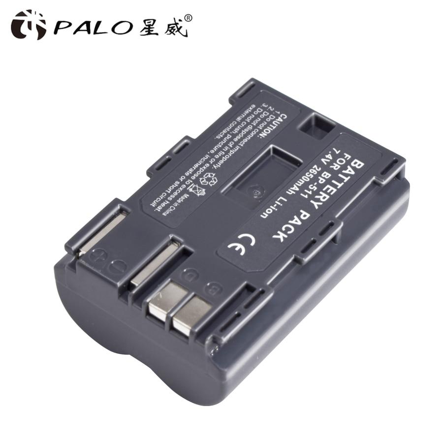 Palo 1Pcs 2650mAh BP 511 BP511 BP-511 BP511A Digital Camera Battery For Canon EOS 40D 300D 5D 20D 30D 50D 10D D60 G6 Batteries