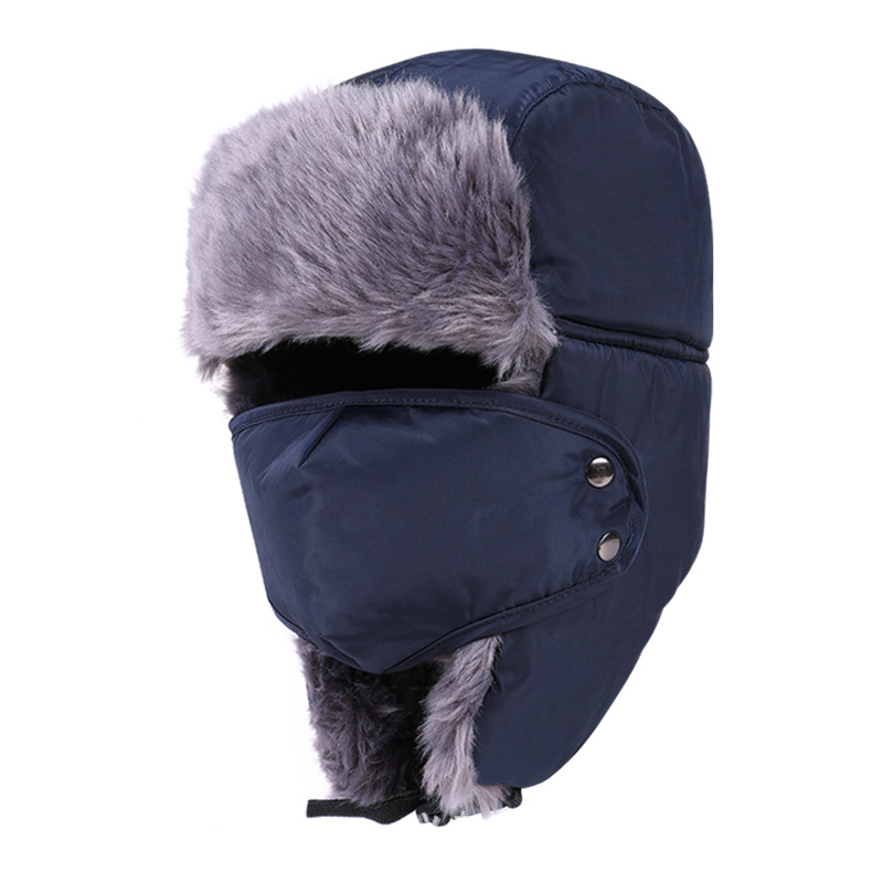 2018 Men's or Women's Fur Bomber Hats Winter Russian Hat Outdoor Warm Thicker Caps with Ear Flaps and Mask