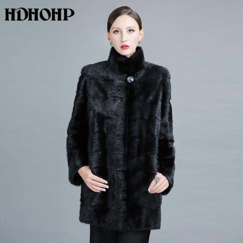 Hdhohp 2017 nueva moda real visón Pieles de animales Abrigos de mujeres Cuero auténtico buena calidad caliente personalizable invierno natural Pieles de animales chaquetas