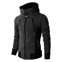 Hoodies Men Sudaderas Hombre Solid Hooded Harness Hoodie Cardigan Sweatshirt Slim Fit Men Hoody