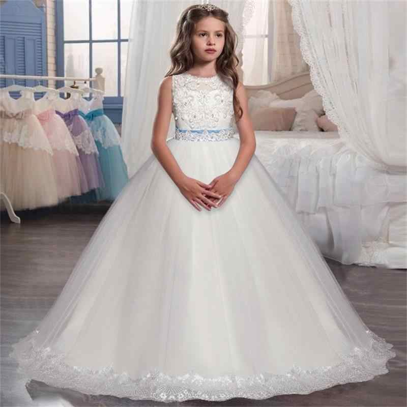470810c3b608205 Детские платья для девочек, белое свадебное длинное платье для выпускного  вечера, нарядное платье с
