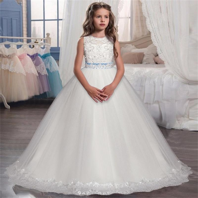 Kids Dresses For Girls White Wedding Long Prom Gown Fancy Flower Girl Dress For Pageant Party Elegant Princess Bridesmaid 14Y